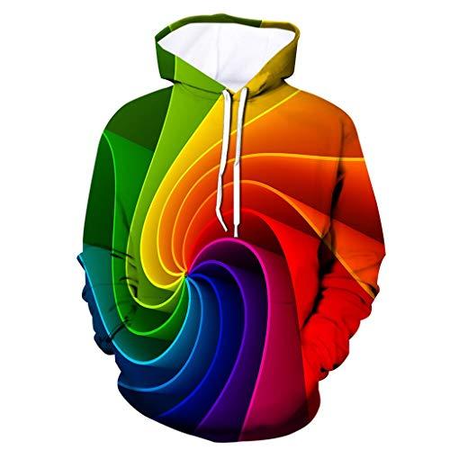 Xmiral Herren Slim Fit Hoodie Lange Ärmel Kapuzenpullover 3D Druck Farbig Sweatshirt Pullover Hooded Streetwear Hemden Strickwaren(n Mehrfarbig,XL)