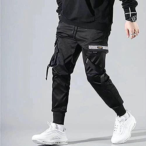 LKHJ Pantalones Harem de Hip Hop Multibolsillos para Hombre, Pantalones de chándal Streetwear para Hombre, Pantalones de Carga Informales de Moda para Hombre-Negro_S