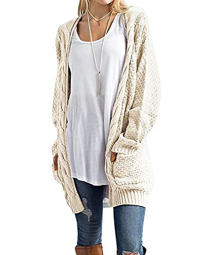 CNFIO Pullover Damen Strickjacke Lässig Casual Cardigan Langarm Outwear mit Taschen Mantel Jacke Winter Beige S