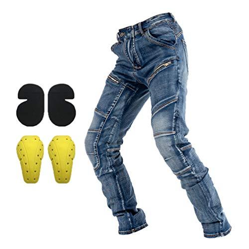 Ketamyy Motorrad Hose Jeans Outdoor Protektoren Motorradjeans Elastische Stretch Slim Fit Langlebig Fallfeste Motorradhose Multi Taschen Wandern Radfahren Angeln Blau + Schutzknie 3XL