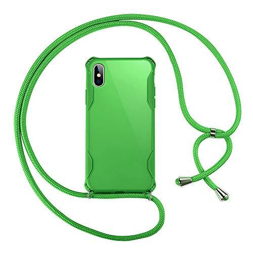 xinyunew Funda Colgante movil con Cuerda para Colgar iPhone XR - Carcasa de móvil Caja del teléfono Color TPU con Cordon para Llevar en el Cuello + Protector de Pantalla -Verde