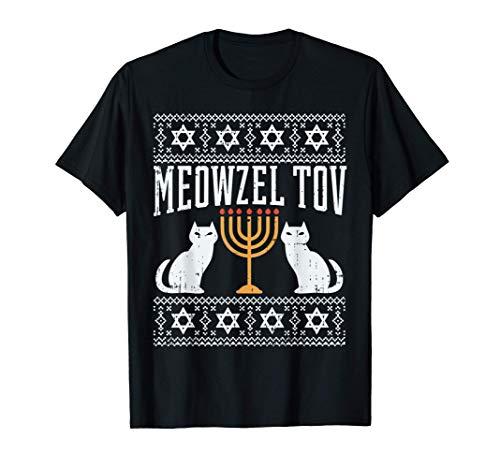 Meowzel Tov Chanukah Jewish Cat Owner Ugly Hanukkah Gift T-Shirt