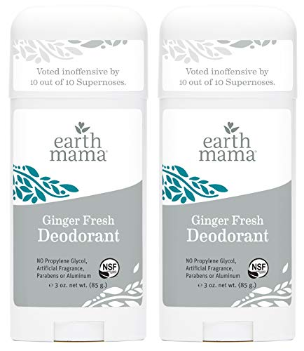 Ginger Fresh Deodorant by Earth Mama | Natural and Safe for Sensitive Skin, Pregnancy and Breastfeeding, Contains Organic Calendula 3-Ounce (2-Pack)