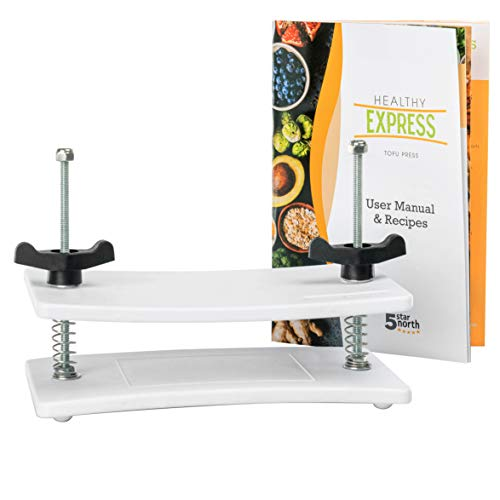 Tofu Press - by Healthy Express - Premium curved plates for superior pressing results on Firm and Extra Firm tofu. Perfect Press every time! (2-Post/2-Spring or Upgraded 2-Post/4-Spring)