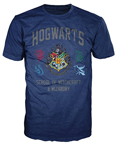 HARRY POTTER Hogwarts Crest Witchcraft and Wizardry Men's Adult Graphic Tee T-Shirt (Navy Blue, XX-Large)