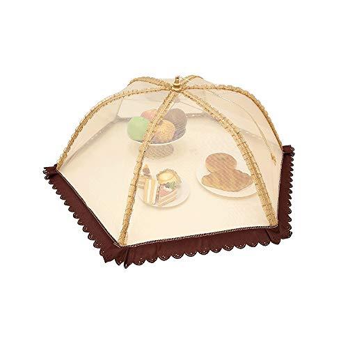 SMX Cubre los alimentos – Plato de mesa para comida, cobertura antifaz para el polvo, plegable, cobertura completa del paño de arroz, tabla mosquitera, paraguas grande redondo
