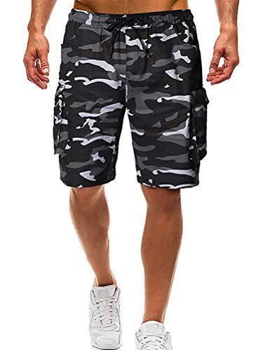 Tomwell Hombre Bermuda Pantalón Corto Moda Camuflaje Elástico Regular-Fit Deporte Shorts