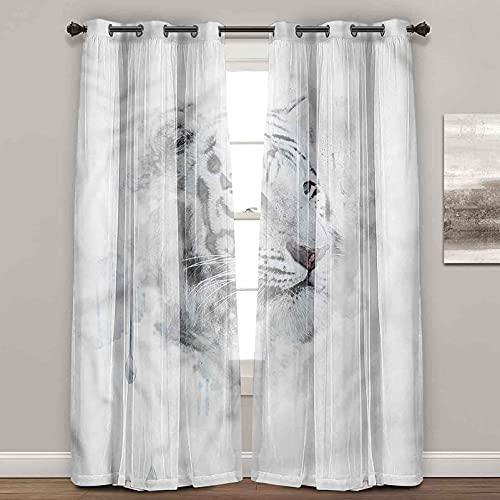 Cortinas negras, animal, tigre blanco, elegantes cortinas para sala de estar (2 paneles de ancho 122 x largo 96 pulgadas)