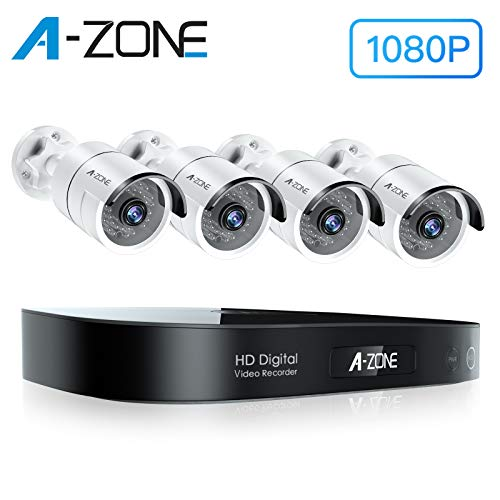 A-ZONE Security Camera System Outdoor, 8-Channel Full HD 1080P Bullet AHD Surveillance System, 4 Outdoor/Indoor 3.6mm Fixed Lens 2.0 Megapixel IP66 Waterproof Cameras, Motion Detection, No Hard Drive DVR Kits Surveillance