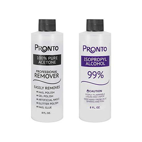 Bundle - Pronto Nail Care Essentials 2 Pack: 100% Pure Acetone + 99% Isopropyl Alcohol - Quick, Professional Nail Polish Remover - Salon-Grade Multipurpose Alcohol Formula (8 FL. OZ Each)