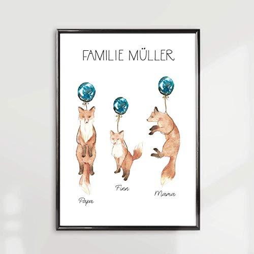 Personalisiertes Bild Familie Fuchs mit Namen im Rahmen |Geschenk für die ganze Familie Oma Opa Mama Papa Sohn Tochter | Familiengeschenk | Geschenk zur Geburt