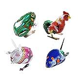 SM SunniMix 4 Stück Retro Blechspielzeug Uhrwerk Spielzeug Sammlerstücke Tierfiguren Machanisches Spielzeug zum Sammeln