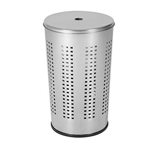 axentia Wäschekorb mit Deckel, runder Wäschesammler aus verchromtem Edelstahl, Wäschetonne mit Kunststoff-Boden, Fassungsvermögen: ca. 50 Liter