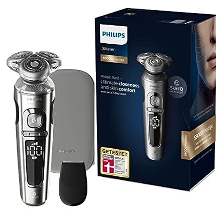Philips Serie 9000 Prestige SP9820/18 - Afeitadora Eléctrica para Hombre Con Sensor de Densidad de Barba, 3 Modos, Seco o Húmedo con Perfilador de Barba y Funda,Negro
