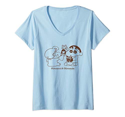 Womens Crayon Shin-chan Doll play with Himawari V-Neck T-Shirt