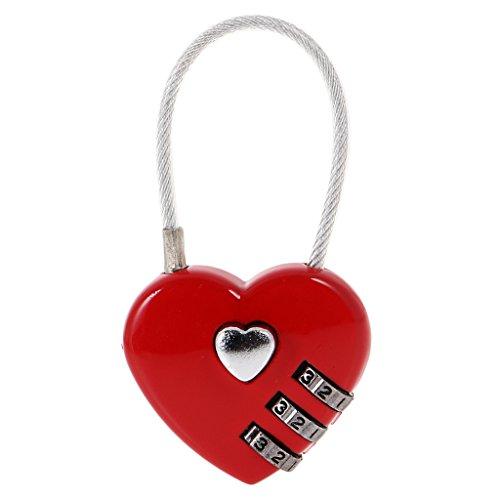 D dolity Mini Forma de Corazón Candado de seguridad Candado maletín Candado de Viaje con código