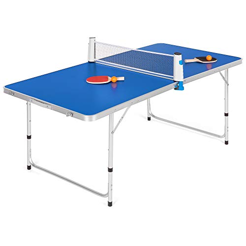 "Best Choice Products Portable 60"" Ping Pong Folding Table Set w/Balls, Paddles"