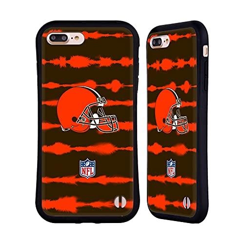 Head Case Designs Licenza Ufficiale NFL Stampa a Strisce Acquerello Cleveland Brown Art Cover Ibrida Compatibile con Apple iPhone 7 Plus/iPhone 8 Plus