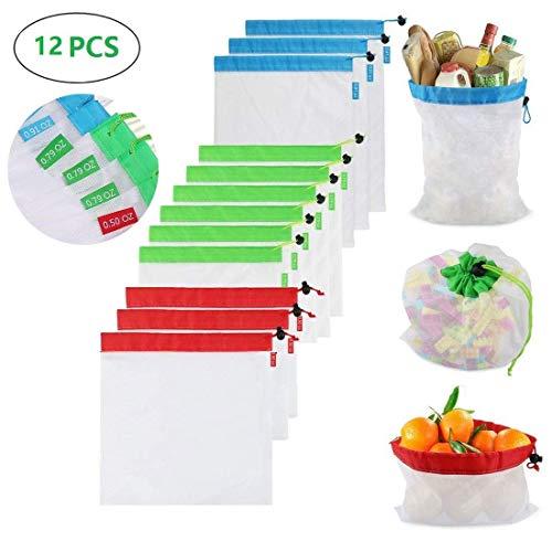 evecase 12 pezzi riutilizzabili in rete per produrre sacchetti lavabili, ecologici per verdure, giocattoli (5. PC). Blue