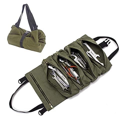 Bolsa de herramientas de tela, herramienta Roll Auto Organizer Tool con 5 bolsillos con cremallera, bolsa de herramientas que se enrolla para electricidad, plomo, mecánico (verde)