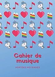 Cahier de musique - Moyennes Portées: Carnet de musique avec portées de taille intermédiaire   8 moyennes portées par page   pour enfant débutant la ... format 21 x 29,7 cm (A4) (French Edition)