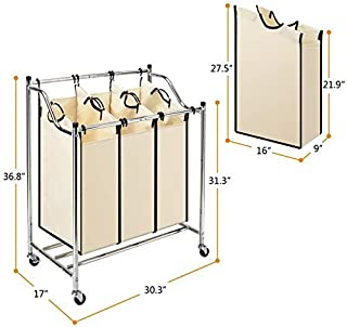Laundry Basket 3 Bags Laundry Sorter Cart on Wheels Heavy-Duty Mobile Laundry Hamper with Removable Bags Chrome