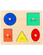 TOYANDONA Houten Puzzel Speelgoed Hout Geometrische Vorm Sorteerder Blokken Jigsaw Puzzle Pinnen Voorschoolse Game Kids Montessori Onderwijs Speelgoed Baby Shower Geschenken