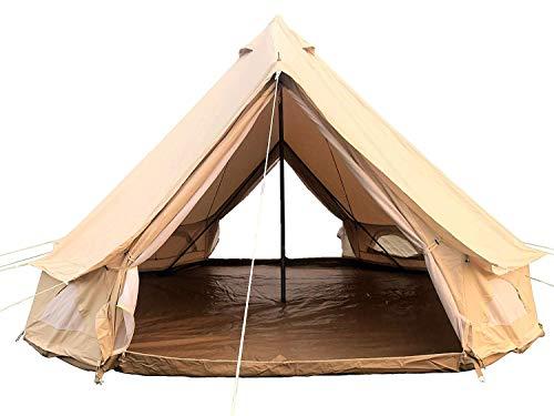 DANCHEL OUTDOOR Cotton Family Bell Tent with 2 Doors Waterproof Windproof Yurt Tents (khaki, 7m=23ft)