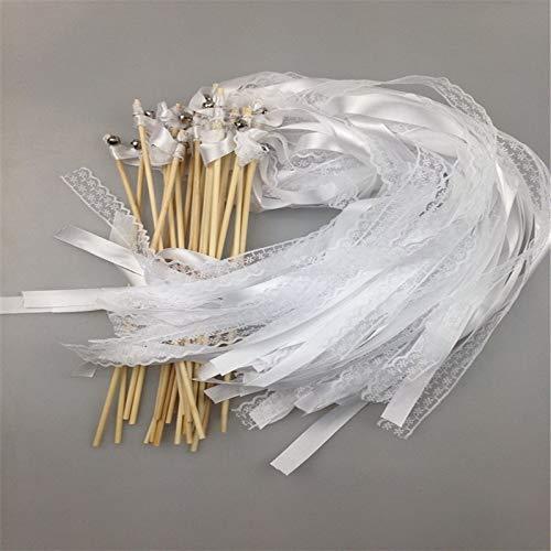 Jiaxingo 30 Stücke Zauberstäbe mit Band Glocken, Spitzen Fee Stick mit Weiß Band für Hochzeit, Weihnachten, Geburtstag, Party, Seide, Spitzenband, mit Glocken