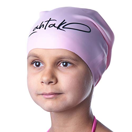 Swim Caps for Long Hair Kids - Swimming Cap for Girls Boys Kids Teens with Long Curly Hair Braids Dreadlocks - 100% Silicone Hypoallergenic Waterproof Swim Hat (Rose Quartz, Medium)