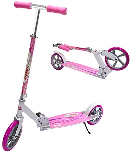 """ChromeWheels Kick Scooter, Deluxe 8"""" Large 2-Wheels Wide Deck 5 Adjustable Height with Kickstand Foldable Freestyle Pro Scooters, Best Gift for Age 6 up Kids Girls Boys Teens, 200lb Weight Limit, Pink"""