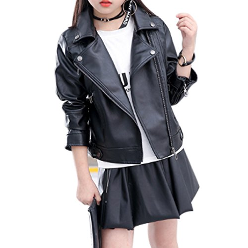 Girls Fashion PU Leather Motorcycle Jacket Children's Outerwear Slim Coat black 3-4Y …