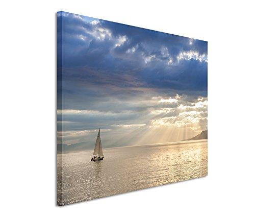 Eau Zone GmbH Kunstdruck auf Leinwand 120x80cm Landschaftsfotografie – Kleines Segelboot am Leman See Schweiz