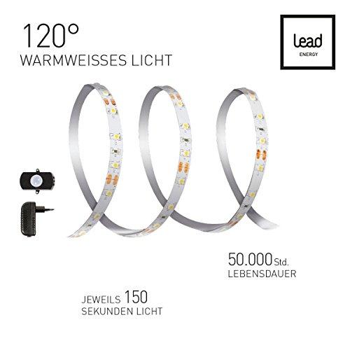 LED NACHTLICHT Strip Set 1x1.5m NLS mit Bewegungsmelder | Warmweiss 2700 Kelvin | LED Bettlampe | LED Schranklampe | Night Light 7W