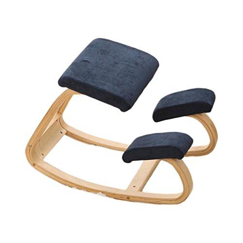 HSJ LF- Silla correctiva Silla de Montar Silla de Aprendizaje Silla de Yoga Silla de Madera Maciza Cómodo (Color : Dark Blue, Size : Suede)