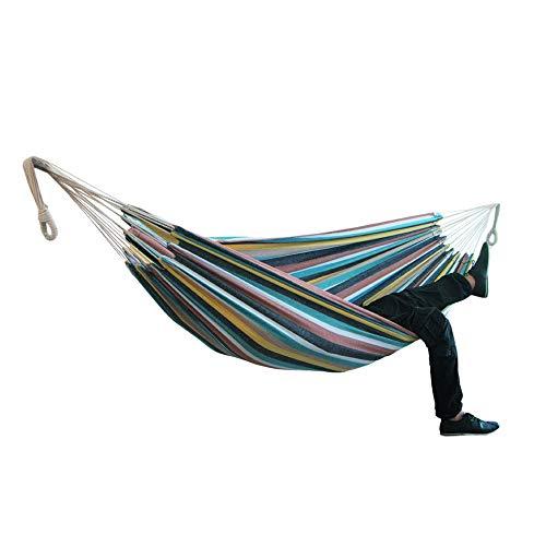 AAGYJ Hamaca de Lona de algodón, Hamaca para Acampar, Silla de Columpio portátil, cómoda y Transpirable, Hamaca para Colgar al Aire Libre, para Patio, jardín, Camping, Playa, Viajes,Rainbow3