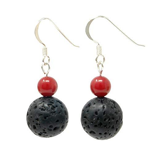 Ohrhänger aus Lava & Koralle schwarz-rot 925 Silber Ohrringe Ohrschmuck Ohrhaken