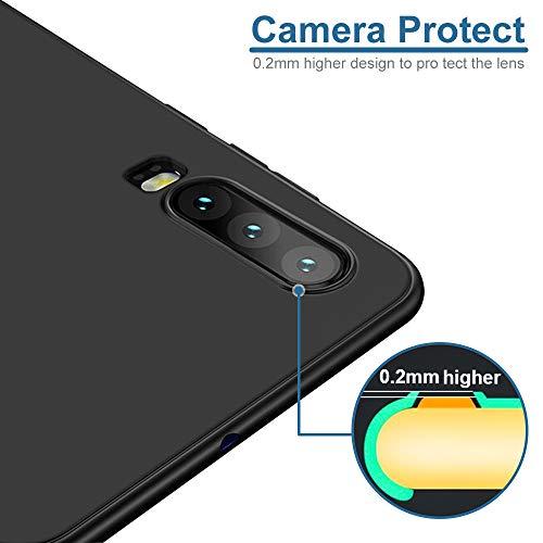 Whew Hülle Kompatibel Huawei P30, Soft TPU Schutzhülle Case - Schutz vor Kratzer, Staub und Scratch- Stoßfest Silikon Schwarz Matte Handyhülle Cover Kompatibel Huawei P30 - 2