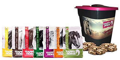 Happy Horse - Lecker Snack Happy Box No. 7 x 1 kg (7 kg) + GRATIS Aufbewahrungsbox. Die Leckerlies für Pferde mit KANNE Fermentgreide. Super Vorteilspreis!