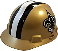 MSA NFL Team Safety Helmets with One-Touch Adjustable Suspension and Hard Hat Tote - New Orleans Saints