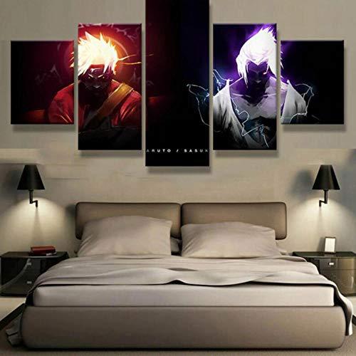 YUANJUN Wanddekoration Design Wandbild 5 Teilig Premium Poster Stilvolles Set Mit Passenden Bilder Als Wohnzimmer Deko Bilderrahmen Leinwandbild Naruto Vs Sasuke Anime Filme