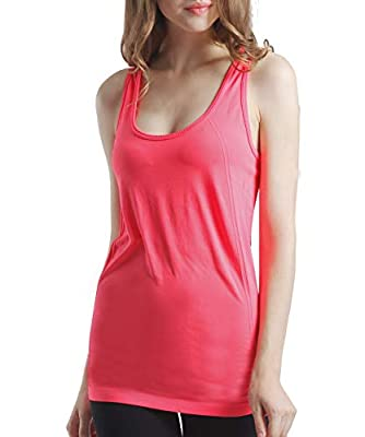 BollyQueena Yoga Tops Home Sports Tank Womens Cute Workout Clothes Mesh Exercise Gym Shirts Running Tank Tops 1 Pair, Fluorescent Red, Small