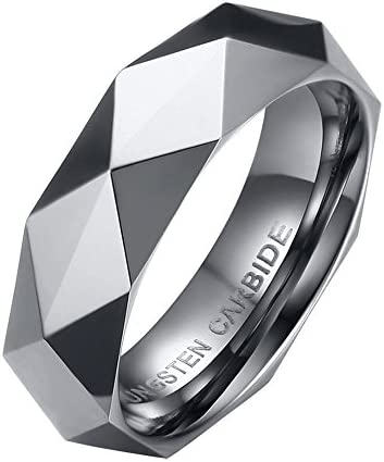 XUANPAI Multi Faceted Domed Polish Finshed Tungsten Carbide Ring Weeding Band for Women Men product image