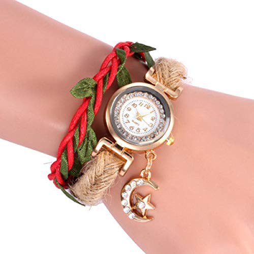 Powzz - Orologio da polso da donna con cinturino in corda di canapa, con ciondolo a forma di luna, al quarzo, colore: rosso