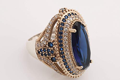 Turkish Handmade Jewelry Long Oval Shape Sapphire and Round Cut Topaz 925 Sterling Silver Ring Size Option