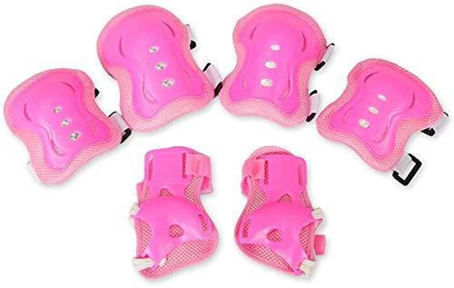 KRXLL Enfant vélo Cyclisme Protecteur Patinage à roulettes Chaussures de Patinage sur Glace Planche à roulettes genouillères brassards coude Protecteur-Rose_M