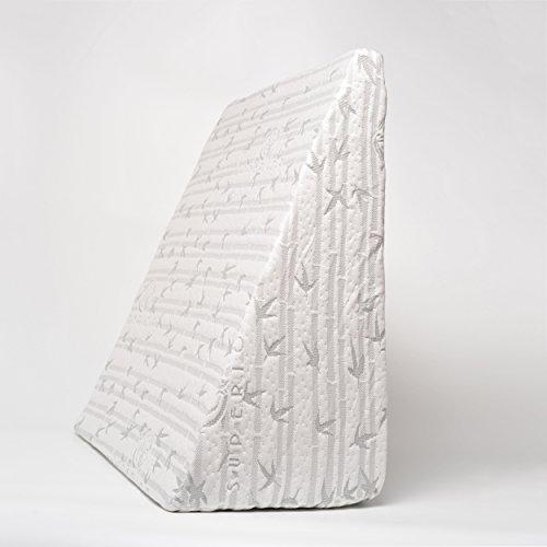 Superior a Forma di Cuneo Cuscino in Memory Foam con Rimovibile Rayon Doppio, Colore: Bianco, 64x 61x 30cm