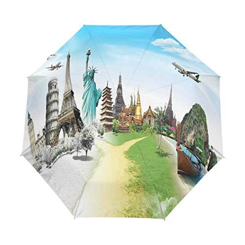 DUILLY Automatischer Regenschirm zum Öffnen/Schließen,Flugzeugflug über Denkmälern und Wundern der Welt Eiffel Thailand,Winddichter, wasserdichter, Leichter, zusammenklappbarer Kleiner Sonnenschirm