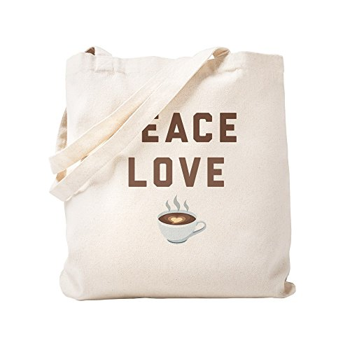 CafePress Peace Love Kaffee-Emoji-Tragetasche, canvas, khaki, S