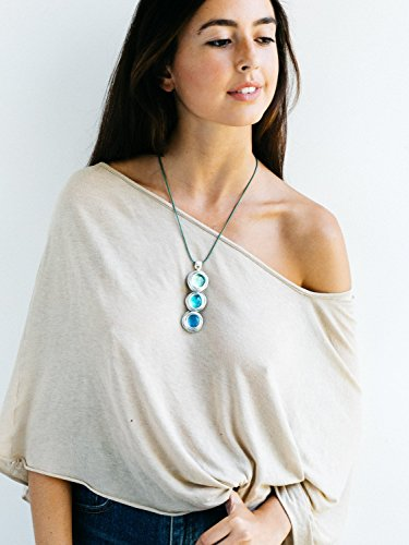 Leather Necklace For Women, Wrap Pendant Necklace, Silver Statement Necklace